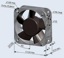 Электровентилятор для охлаждения 1.1ЭВ-1.4-3-1270