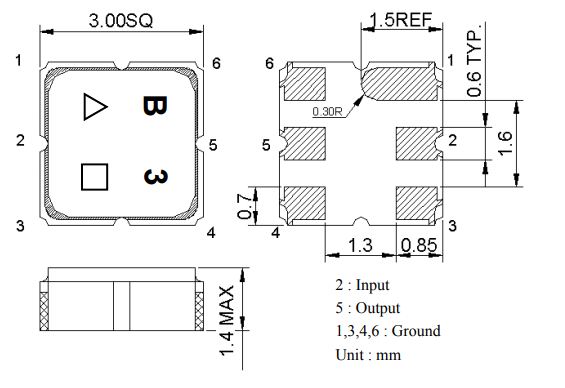 Габаритный чертеж ПАВ фильтра TA1391A