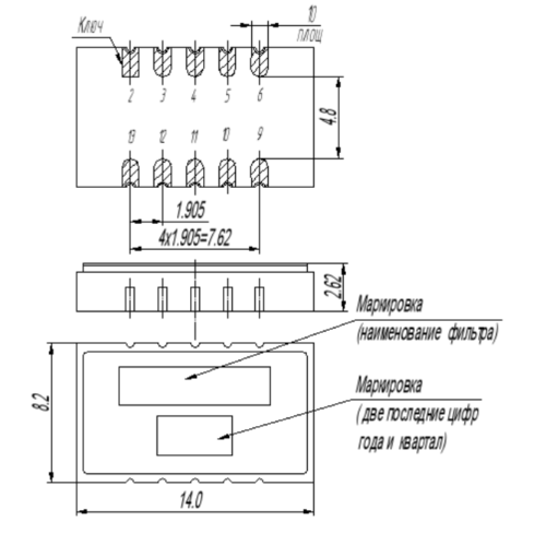 Габариты фильтра ФП3П7-512-1